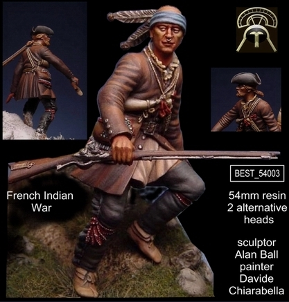 French Indian War - SET 1 54mm (1 figures - 2 heads alternative