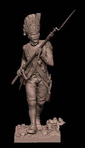 75mm_French Soissonais Rgt, Grenadier Co.y.  Battle of Yorktown, American revolution, 1781